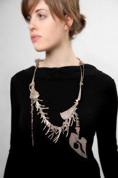 Zoë Wendel [BFA 2011/Jewelry+Metalsmithing at RISD] – Rabbit Skeleton Necklace – laser-cut brass
