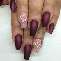 Ballerina Nails. Burgundy Nails. Matte Nails. Nude Pink Nails. Nails With Rhinestones. Winter Nails.