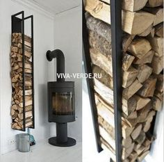 You want to build a outdoor firewood rack? Here is a some firewood storage and creative firewood rack ideas for outdoors. Lots of great building tutorials and DIY-friendly inspirations! Indoor Firewood Rack, Firewood Holder, Firewood Storage, Casas Containers, Into The Woods, Wood Burner, Storage Design, Storage Ideas, Fireplace Design