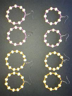 Lotto  paia Orecchini Ciondoli Pendenti a cerchio di 40mm con filo in alluminio giallo oro, fucsia e perle in legno di 8mm ecc. ecc. da donna bigiotteria in stock €0,69 cad1