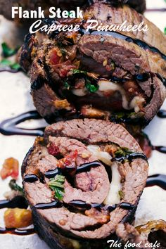 Flank Steak Caprese Pinwheels are filled with an amazing Caprese salsa all rolled up and sliced into the perfect pin wheel of flavor and topped of with a decadent balsamic glaze. Flank Steak Rolls, Flank Steak Recipes, Steak Roll Ups, Grilling Recipes, Meat Recipes, Cooking Recipes, Water Recipes, Dinner Recipes, Gourmet