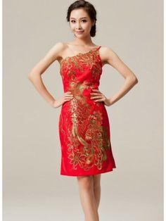 Custom-made One-shoulder Cheongsam / Qipao / Chinese Dress