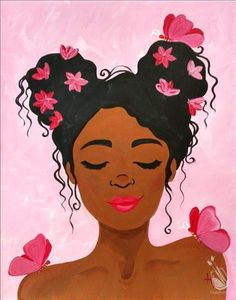 Check out Painting with a Twist's events in Tallahassee, FL to uncover your next painting party! Read more to find out about upcoming painting events. Black Art Painting, Painting Of Girl, Black Artwork, Painting & Drawing, Afro Painting, Cute Canvas Paintings, Small Canvas Art, Mini Canvas Art, Black Love Art