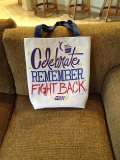 Relay for life bag decorated with quote did it myselfff for T shirt printing mansfield tx