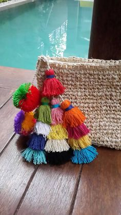Multi tassel raffia clutch multi colour tassel by EllennJames Crochet Diy, Pom Pom Crafts, Boho Bags, Crochet Handbags, Boho Diy, Knitted Bags, Handmade Bags, Clutch Bag, Jewelry Crafts
