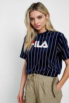 FILA Velour Pinstriped Logo T-Shirt