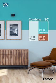 """Logra el balance perfecto de color en tu proyecto seleccionando 3 tonos distintos, 60% color predominante, 30% color intermedio y 10% color de acento. En este caso utilizamos """"Termal"""" + """"Inolvidable"""" + """"Ladrillo"""", una combinación que le aportará vida a tu sala de estar. #Combina colores y transforma tu espacio. #Combina3C® Interior Color Schemes, Room Paint, House Painting, House Colors, Colorful Interiors, Home And Living, Paint Colors, Gallery Wall, House Design"""