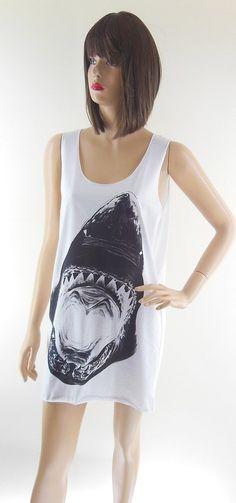 Shark Animal Style Shark Shirt Shark Tank Top Jaws by sinclothing, $15.99
