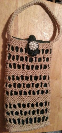 Chain Lace Purse (used pattern for Chain Lace Daytimer and reduced the size, then knitted the strap)