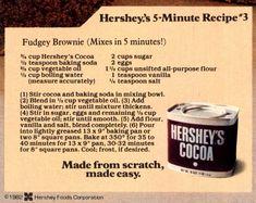 Cocoa Powder Recipes, Cocoa Recipes, Candy Recipes, Brownie Recipes, Sweet Recipes, Dessert Recipes, Desserts, Hershey's Cocoa Brownies Recipe, Hershey Cocoa Cookie Recipe