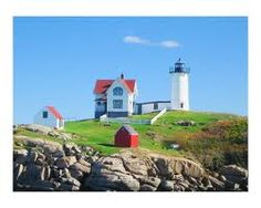 Nubble Lighthouse (aka Cape Neddick) in Wells, Maine. Have seen this many times. York Beach Maine, York Maine, Cape Neddick, Maine New England, Beach Lighting, Vacation Spots, Places Ive Been, Places To Visit, Around The Worlds