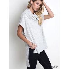 """Love Letter"" Cowl Neck High Low Top Short sleeve cowl neck high low top in heather grey. Only color available. Brand new. True to size but a loose fit. NO TRADES. Bare Anthology Tops Tees - Short Sleeve"