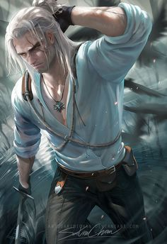 by sakimichan, Digital Painting, Witcher 3 Wild Hunt Fan Art, Sexy Male Character, Inspirational Art The Witcher Game, The Witcher Geralt, Witcher Art, Ciri, Geralt Of Rivia Cosplay, Fantasy Male, Fantasy Warrior, Dark Fantasy, Character Inspiration