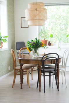 """A """"Little Bit Bohemian, Little Bit Scandinavian, Little Bit Rock & Roll"""" Home in Norway — House Tour Furniture, Interior, Bohemian Dining Room, Dining, Bentwood Chairs, Chair Popular, Dining Furniture, Airy Room, Dining Room Decor"""