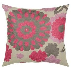 "eye-catching pillow, adding a pop of style to your sofa, settee, or master bed.   Product: Pillow   Construction Material: Cotton cover and siliconized polyester fiber fill  Color: Natural and coral pink  Features: Insert included  Dimensions: 18"" x 18""   Cleaning and Care: Dry clean only  Shipping: This item ships small parcelExpected Arrival Date: Between 04/13/2013 and 04/21/2013Return Policy: This item is final sale and cannot be returned"