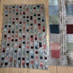 Hæklet slumretæppe. Colours and squares.