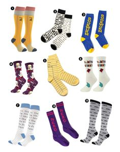 Love these socks!  Every Book-a-holic  and Literati will enjoy.   1. Number 2 Pencil    2. Banned Books    3. Bookworm    4. Shakespeare    5. Library Card    6. Book Shelf    7. Alphabet    8. Nerd    9. Glasses