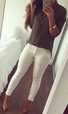#summer #outfits / olive shirt + white