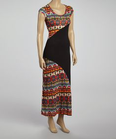 Take+a+look+at+the+Beary+Basics+Red+&+Black+Tribal+Inlay+Maxi+Dress+on+#zulily+today!