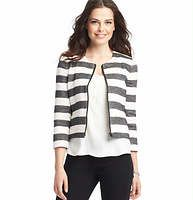 """Tall Wide Stripe Zip Front Jacket - We adore the effortless attitude of this zip front cotton cutie, starring distinctively textured stripes for salt and pepper chic. Crew neck. 3/4 sleeves. Welt pockets. Split cuffs. 20 3/4"""" long."""