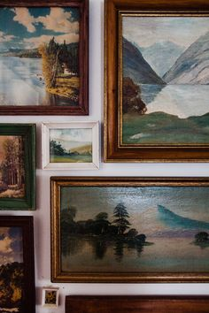 How to Create a Vintage Landscape Gallery Wall Eeeee, tiny vintage paintings! Painting Gallery, Gallery Wall, Vintage Art, Vintage Paintings, Vintage Decor, Vintage Nautical, Indian Paintings, Garden Wall Designs, Wal Art