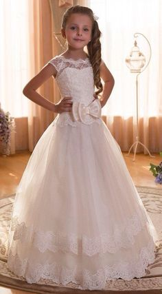 2016 Girl's First Communion Dresses Scoop Backless With Appliques And BowTulle Ball Gown Pageant Dresses For Little Girls Princess Flower Girl Dresses, Tulle Flower Girl, Wedding Flower Girl Dresses, Little Girl Dresses, Girls Dresses, Girls First Communion Dresses, Holy Communion Dresses, Pageant Girls, Pageant Dresses