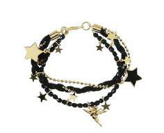 Black Bead Stars Link Bracelet