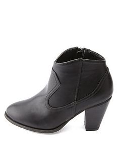 Bamboo Chunky Heel Western Ankle Boots: Charlotte Russe