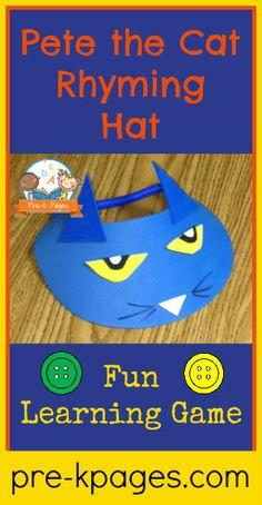 Pete the Cat Rhyming Hat Activity for #preschool #kindergarten #groovycatweek