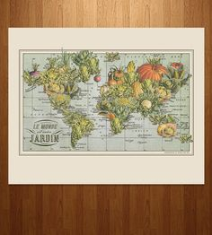 Jardin Monde Vegetable World Map Print by ImagineNations on Scoutmob Shoppe