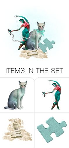 """Puzzled By Being Stretched to the Limit"" by catfabricsandbuttons ❤ liked on Polyvore featuring art and puzzled"