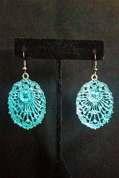 Oxidized Copper Filigree Oval Earrings