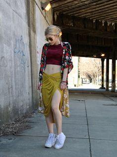Urban Outfitters Halter, Urban Outfitters Kimono, Free People Midi Skirt