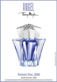 A chronological collection of Thierry Mugler's Angel Limited Edition Perfume Bottles for Collectors. Starting in 1994 each year a new bottle is released. Perfume Diesel, Best Perfume, Perfume Bottles, Glass Bottles, Thierry Mugler Angel Perfume, Celebrity Perfume, Miniature Bottles, Angeles, Lotions