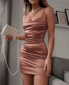 Homecoming Dresses Tight, Cute Prom Dresses, Prom Outfits, Mode Outfits, Tight Dresses, Elegant Dresses, Pretty Dresses, Fashion Outfits, Satin Dresses