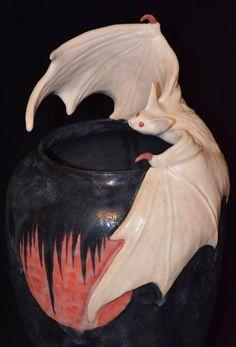 Albino Bat Amphora by Freiwald Art Pottery