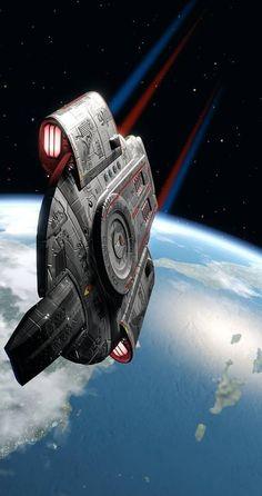 "scifiandfantasyuniverse : The USS Defiant. ""Star Trek : Deep Space Nine"" Spaceship Art, Spaceship Concept, Star Trek Starships, Star Trek Enterprise, Star Trek Posters, Science Fiction, Starfleet Ships, Sci Fi Spaceships, Star Trek Characters"
