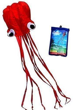 Hengda Kite-Beautiful Large Easy Flyer Kite for Kids - Red software octopus-It's BIG! 31 Inches Wide with Long Tail 157 Inches Long-Perfect for Beach or Park Hengda kite Kites For Kids, Box Kite, Red Octopus, Scavenger Hunt For Kids, Sand Toys, Hoppy Easter, Disneyland, Kids Toys, Diy Projects
