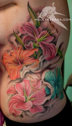 Tattoos by Holly - Always & Forever Tattoo Studio - Watertown, MA : Tattoos : Color : Lilies and Hibiscus flowers on ribs Hibiscus Flower Tattoos, Lily Flower Tattoos, Hibiscus Flowers, Stargazer Lily Tattoos, Tiger Lily Tattoos, Stargazer Lilies, Frog Tattoos, Calla Lily, Side Tattoos