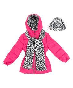 Another great find on #zulily! Pink & White Tiger Stripe Puffer Coat Set - Toddler & Girls #zulilyfinds