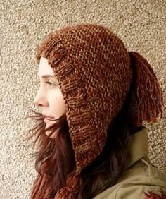 """LOVE this pattern! So simple and looks warm and comfortable. I'm going to go make one right now. :D """"Na vlně: Knitting pattern: CAPUCINE"""" Knitting Patterns Free, Knit Patterns, Free Knitting, Baby Knitting, Hood Pattern, Free Pattern, Knit Crochet, Crochet Hats, How To Make Tassels"""