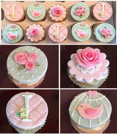 Cupcake Cake Designs, Fondant Cupcake Toppers, Cupcake Cakes, Mini Cupcakes, Cupcakes Flores, Torta Baby Shower, Geometric Cake, Mothers Day Cupcakes, Tea Party Theme