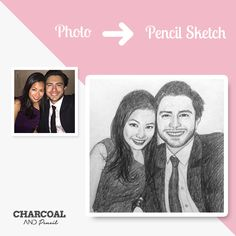Charcoal paintings and pencil portraits from photos Photo To Pencil Sketch, Pencil Sketch Portrait, Photo Sketch, Portraits From Photos, Couple Portraits, Old Photos, Amazing Sketches, Cool Sketches, Couple Painting