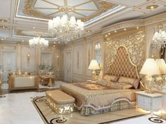 Luxurious Villa Design in Cambodia Luxury Bedroom Design, Luxury Rooms, Luxury Homes Interior, Luxurious Bedrooms, Home Interior Design, Luxury Bedding, Gold Bedroom, Bedroom Sets, Royal Bedroom