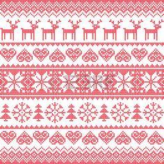 Winter, Christmas red seamless pixelated pattern with deer stock vector Motif Fair Isle, Fair Isle Chart, Fair Isle Pattern, Christmas Embroidery, Christmas Knitting, Christmas Cross, Winter Christmas, Vector Christmas, Fair Isle Knitting Patterns