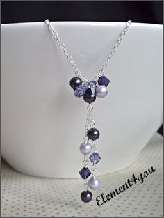 Purple necklace Swarovski crystals pearls Pearl by Element4you, $18.00