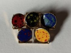 Midcentury Modern Copper Enamel Brooch Tie Pin