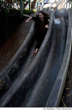 Suzannah Tackett from San Francisco going down Seward street slide for the first time in the Noe Valley in San Francisco, Calif., on Friday, January Photo: Liz Hafalia, The Chronicle / SF Cool Places In California, Central California, California Travel, Seward Street Slides, Moving To San Francisco, East Bay, Travel Around, Concrete, The Neighbourhood