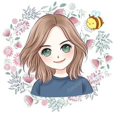Cute Cartoon Pictures, Cute Cartoon Girl, Cute Love Cartoons, Cartoon Art, Cute Girl Wallpaper, Cartoon Wallpaper, Watercolor Illustration, Graphic Illustration, Character Drawing