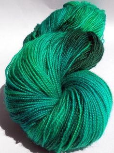Brumby Blue Faced Leicester Wool Nylon Sock Yarn / Fingering - Hand Dyed 100g 400yds 366m Jurassic Green
